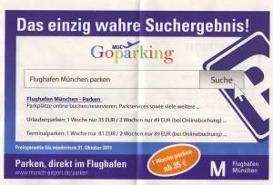 Ofizielle Parkenwerbung des Flughafen München