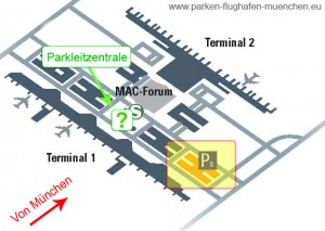 """Anfahrtskarte für das Parkhaus P8 zum billig parken """"Ferien Park Special"""" am Flughafen München"""