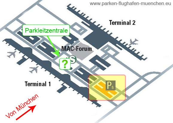 """Übersichtskarte für das Parkhaus P8 zum billig parken """"Ferien Park Special"""" am Flughafen München"""